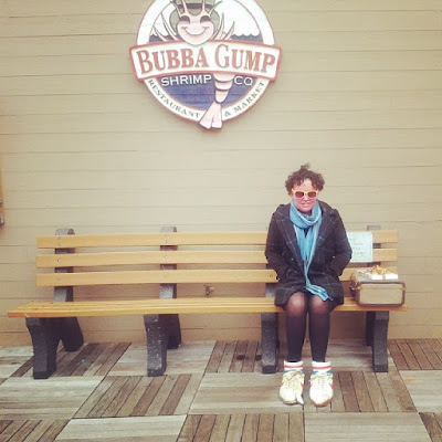 Carly Findlay in Forrest Gump's shoes, Bubba Gump San Francisco
