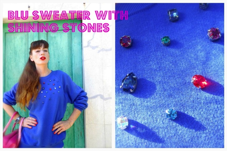 BLU SWEATER WITH STONES