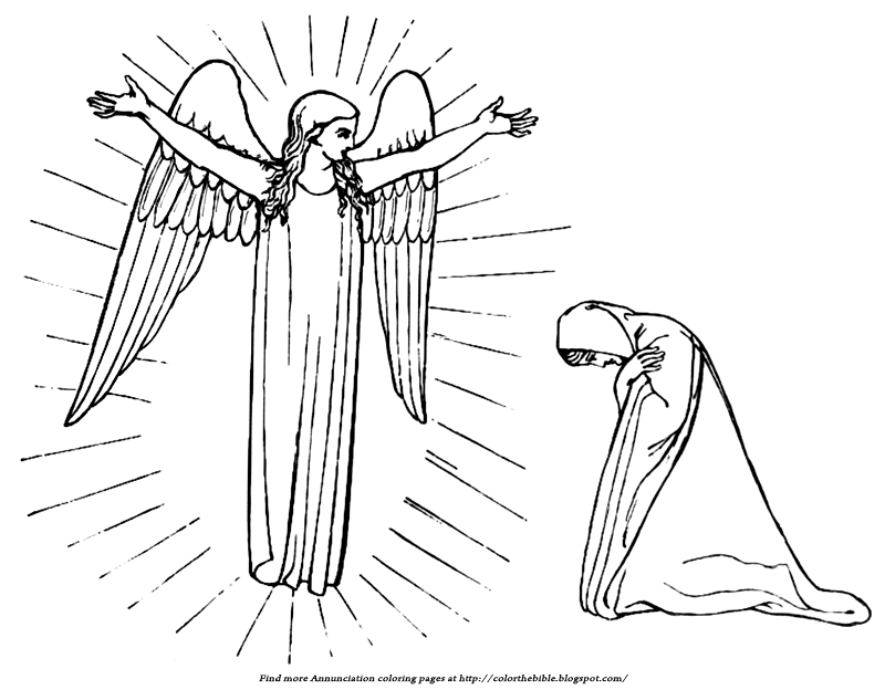 A Simple Annunciation To Color Description Of The Coloring Page