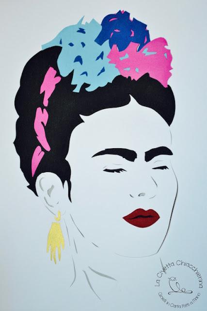 paper cut di Frida Kahlo realizzato a mano su CartaFabriano