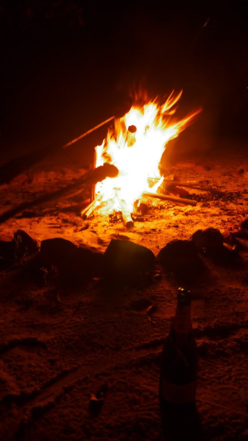 Telunas beach bonfire