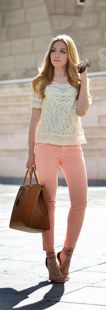 Chic Lace Top with Pastel Denim | Spring Street Outfits