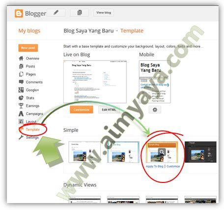 Gambar: Memilih sebuah template blog (simple)