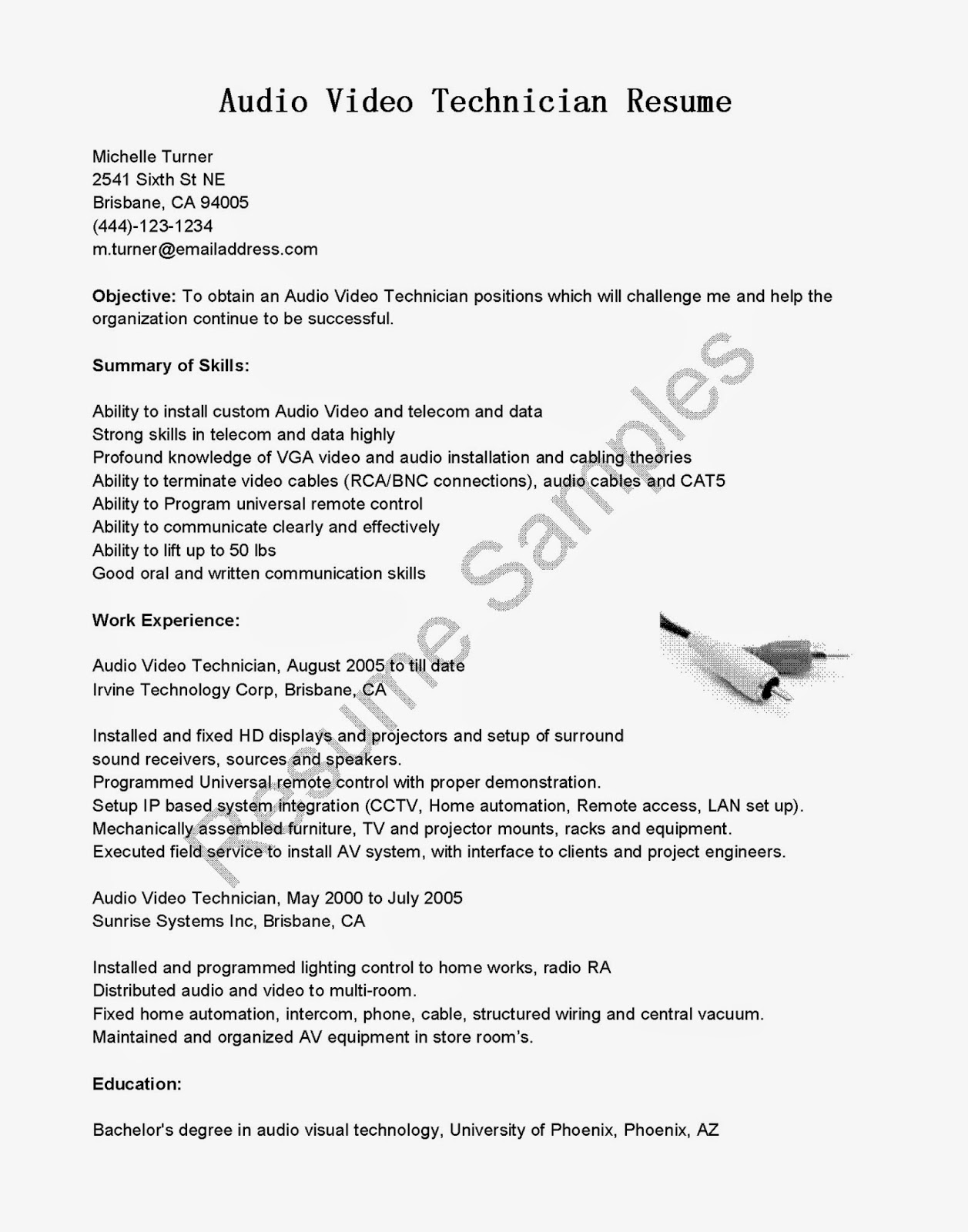 resume samples  audio video technician resume sample