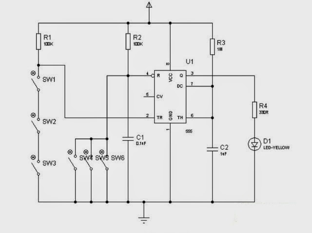 simple electronic code lock using 555 ic