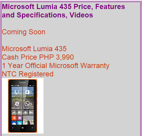 also carry microsoft lumia 435 price and specification got Vodafone