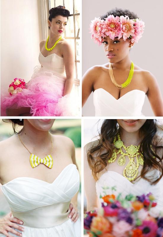 Bigiotteria per la sposa, statement necklace, collana per la sposa gialla, gioielli per la sposa colorati