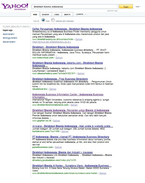Yahoo search result for keyphrase direktori bisnis indonesia
