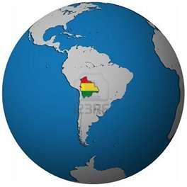 Mapa de la ubicación geográfica de Bolivia en el mundo