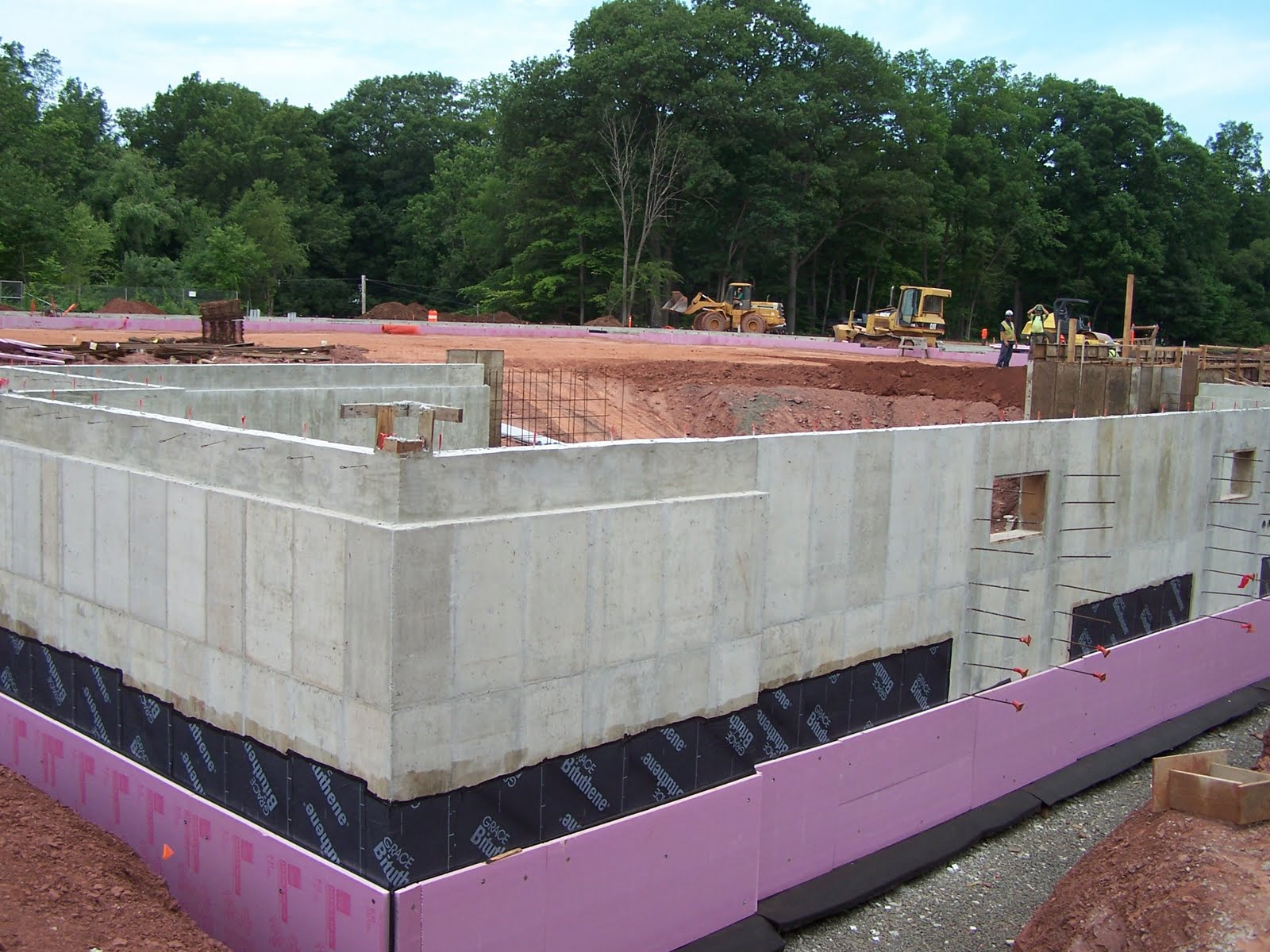 basement walls with waterproofing membrane drain board and