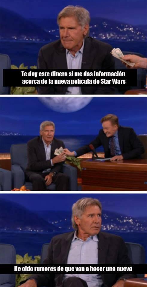 Harrison Ford habla sobre Star Wars incluso le pagan y revela algo han solo