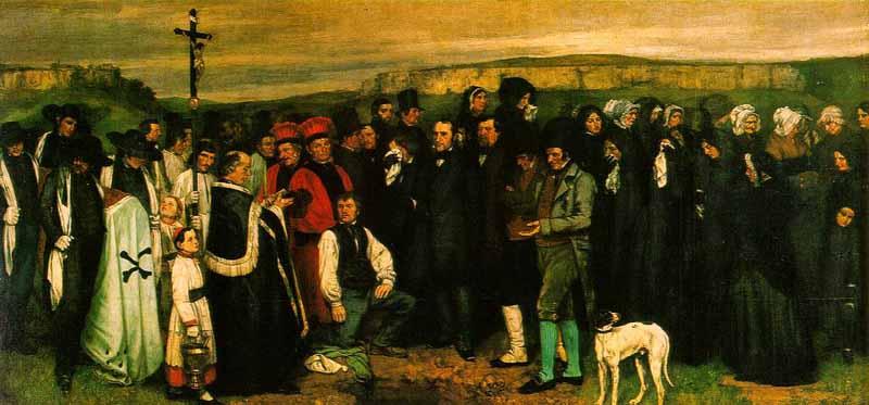 Imagen de la pintura Entierro en Ornans de Courbet