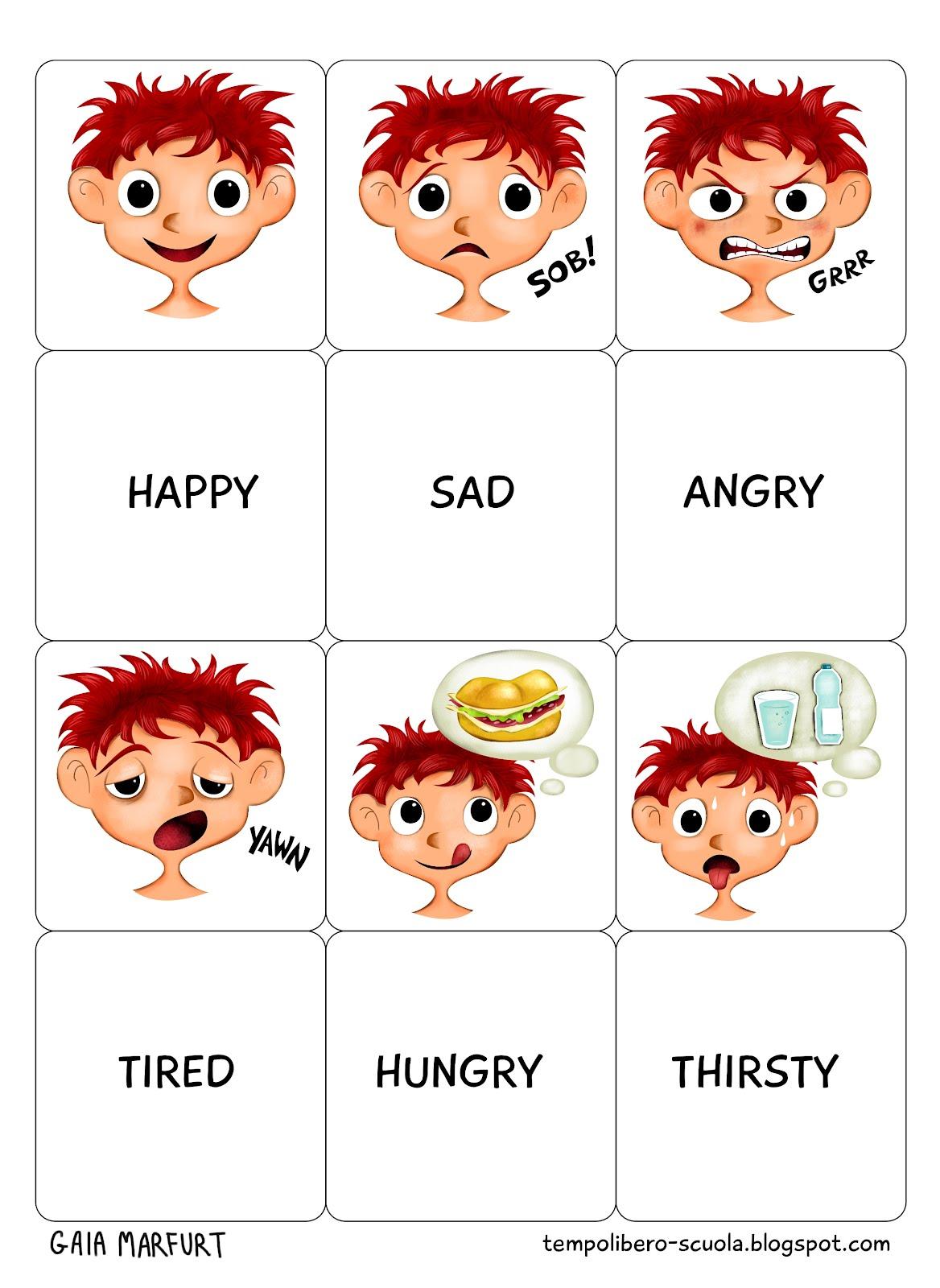 Tempo libero memory english adjectives for Memory da stampare