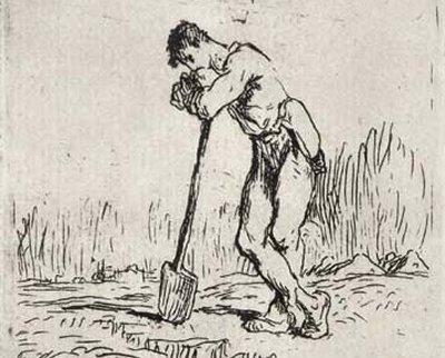 Homme appuyé sur sa Beche (Jean-François Millet, c. 1848)