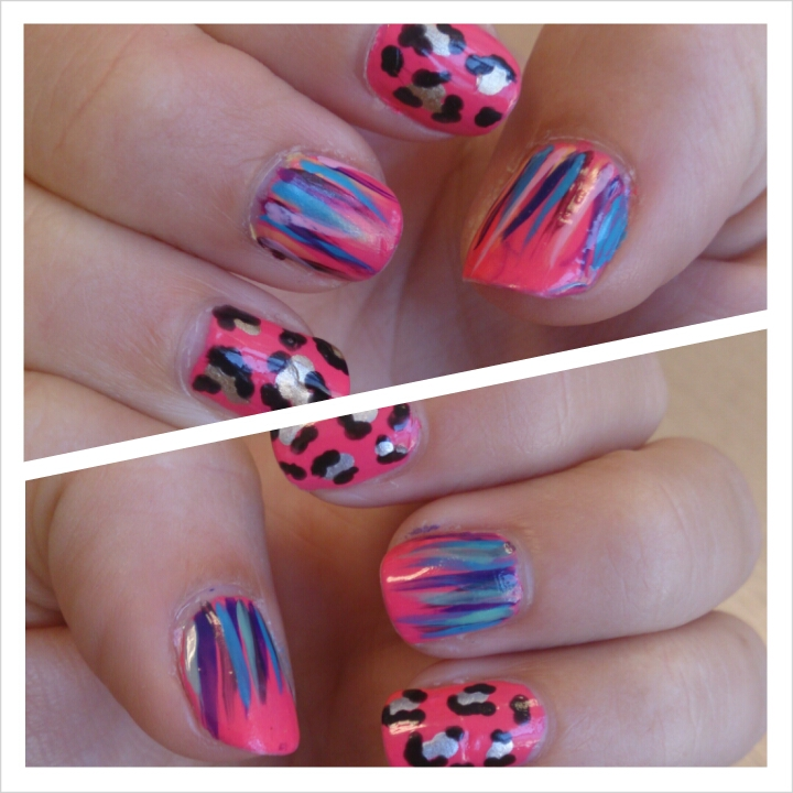 nail art polish varnish waterfall leopard print nails