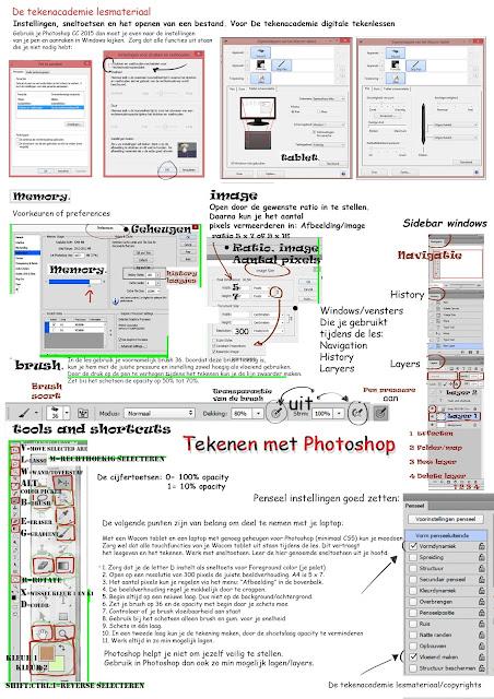 Photoshop,instellingen,tekenles,digitaal tekenen,tekenen met Phtoshop,tekenen met Wacom,tekenles Photoshop