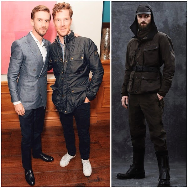 Dan Stevens and Benedict Cumberbatch wears Belstaff belted jacket at screening of the movie The Guest in London September 2014