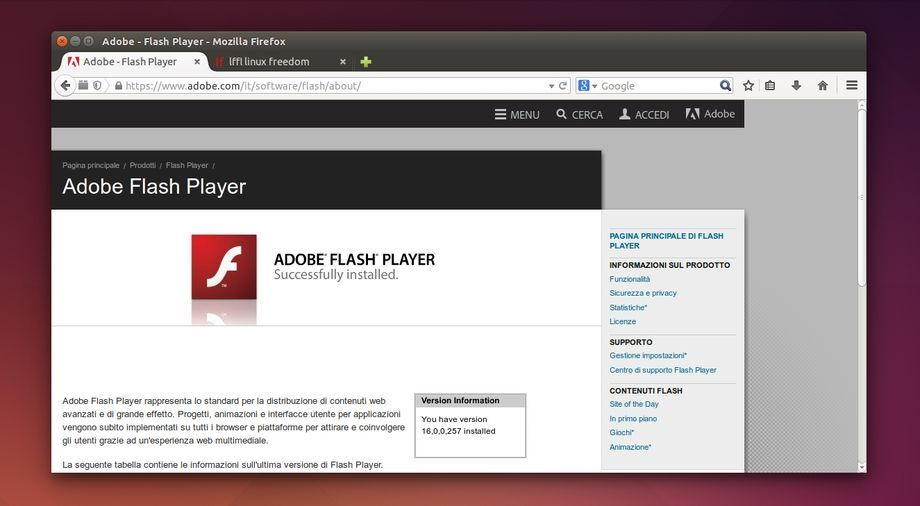 Flash Player 16 in Firefox su Ubuntu