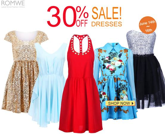 Romwe 30% off sale under the Dresses catalogue!