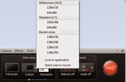 select area menu custom camtasia recorder