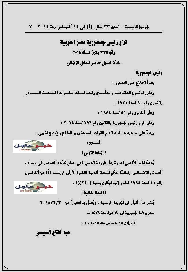 قرار رئيس الجمهورية بتعديل الحد الاقصى لحساب المعاش الاضافى للقوات المسلحة ل 250 %