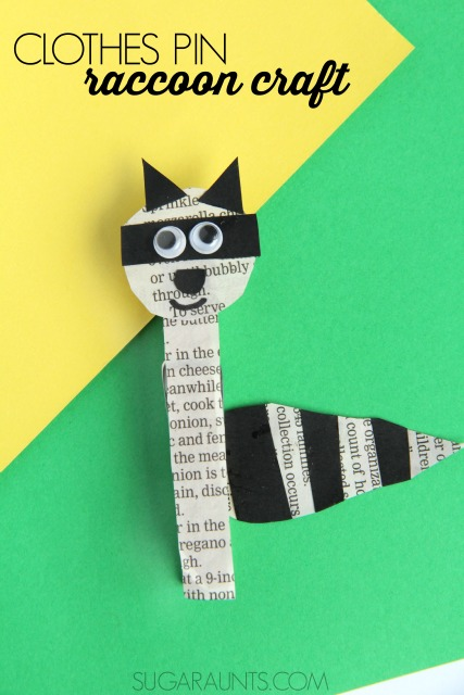 Raccoon craft with a clothes pin for use in second grade math: this Regrouping Raccoon will help with regrouping double digit addition math problems!