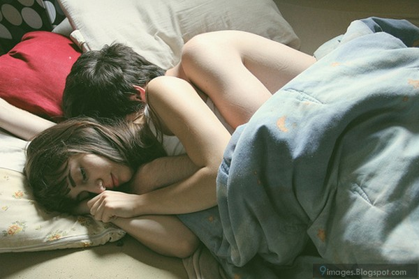Cuddling sleeping couple hug love cute bed