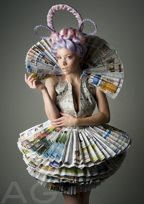 Fashion and art trend recycled fashion beautiful dresses made out of newspaper - How to reuse magazines seven inspired ideas ...