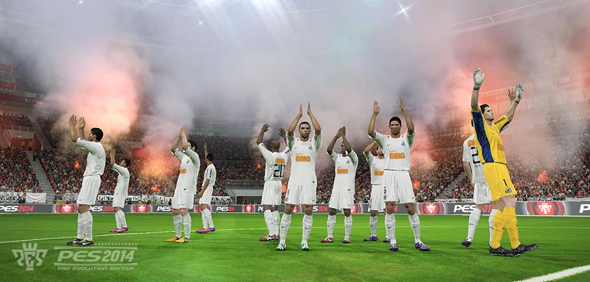 Equipe do Santos FC em comemoração de alguma conquista