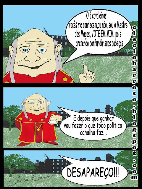 Mestre dos Magos e os políticos corruptos (tirinha)