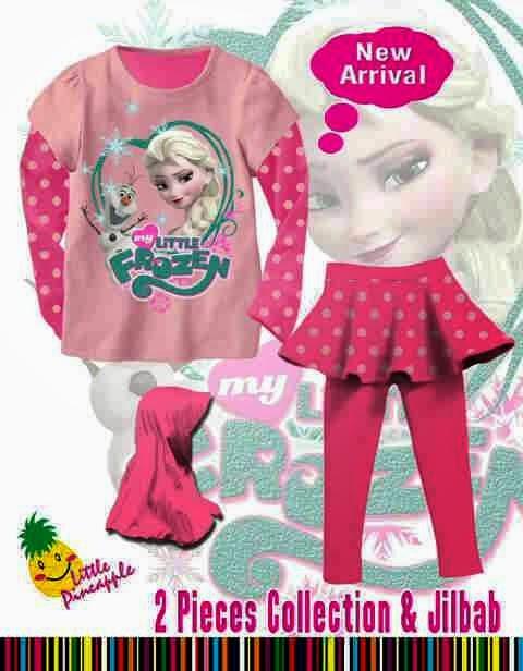 Roemah Kayandra Stelan LP Legging Rok Frozen Pink