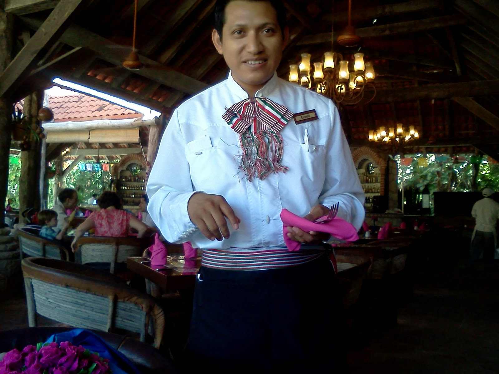 Waiter Wearing Traditional Mexican Costume