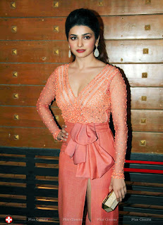 Prachi Desai in very beautiful Orange Leg Split Gown and deep neck top stunning beauty