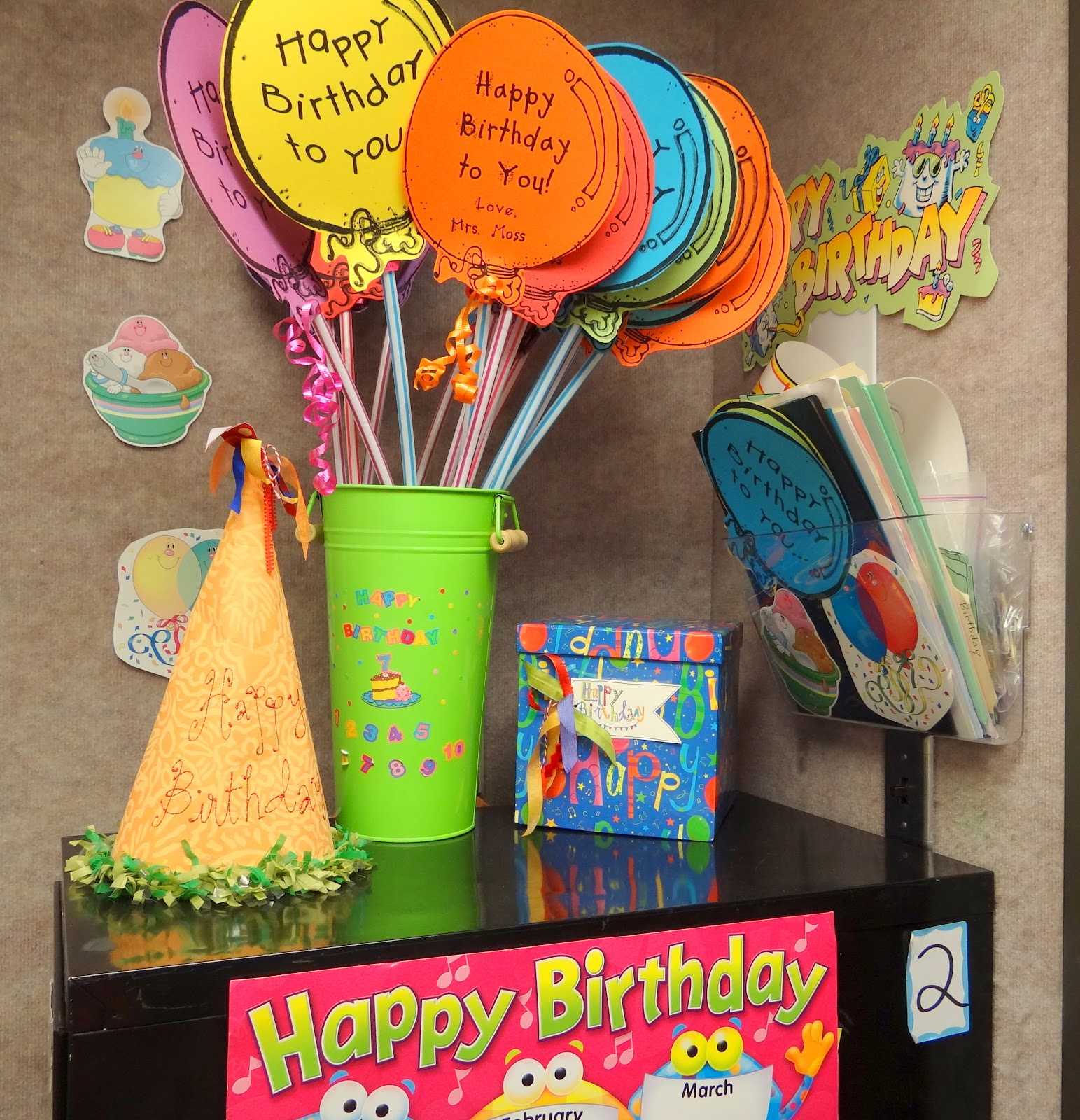 Here Is My Birthday Corner In Clroom These Balloons Are Made On Colorful Cardstock I Give Students A Giant Pixie Stix With Cute Balloon Hy