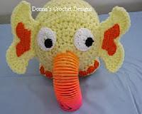 http://www.donnascrochetdesigns.com/plasticsprings/plastic-springs-elephant-free-crochet-pattern.html