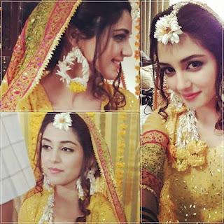famous Pakistani actress in mehndi dress