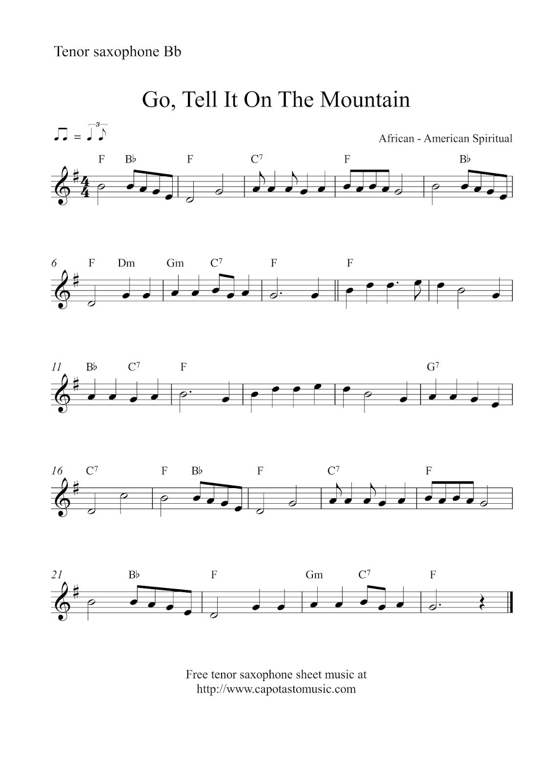 Free Christmas tenor saxophone sheet music - Go, Tell It On The Mountain