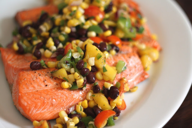 Salmon with Black Bean, Corn and Mango Salsa recipe by Barefeet In The Kitchen