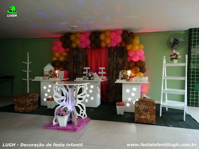 tema da Onça em decoração de mesa provençal para festa de aniversário de meninas - Jacarepaguá RJ - festa infantil