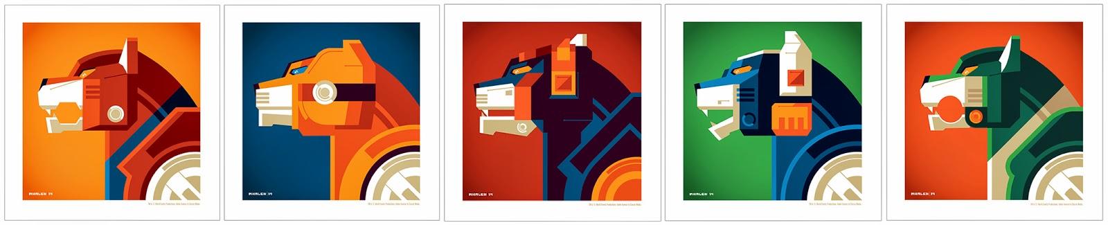 New York Comic Con 2014 Exclusive Voltron Lions Print Set by Tom Whalen