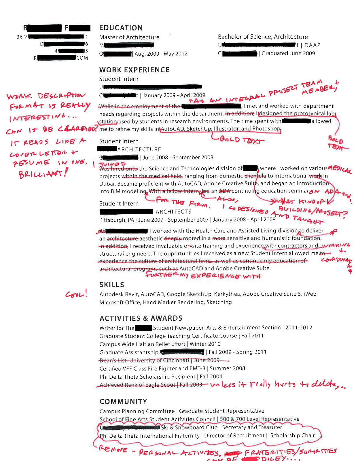 Intern 101: Redlined Resumes: The Importance Of Narrative, And The  Importance Of Reflection  Fraternity On Resume