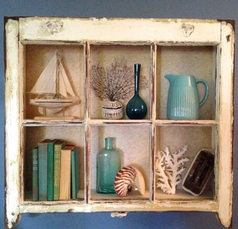 Coastal wall decor ideas with old window frames for Ideas for old windows pictures