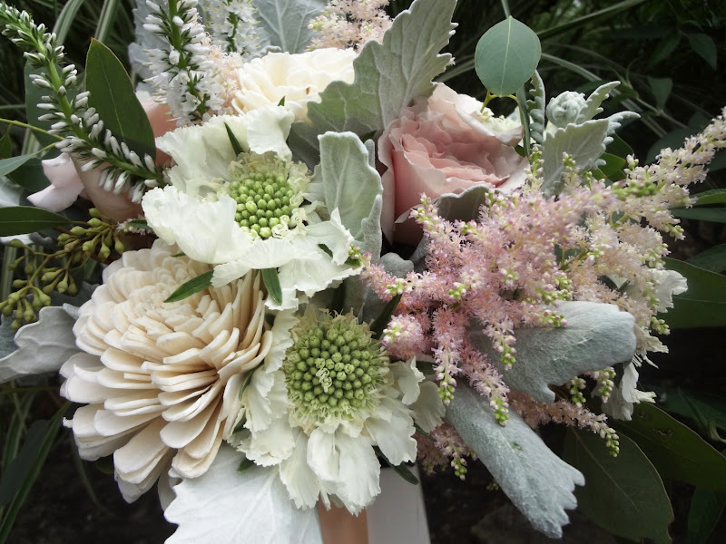 Courtenay Lambert Florals, Bouquets of Quicksand Roses, Scabiosa Flower, Dusty Miller, Seeded Eucalyptus, Astilbe, Veronica, Balsa Wood Sola Tapioca flowers, Juliet Garden Rose.