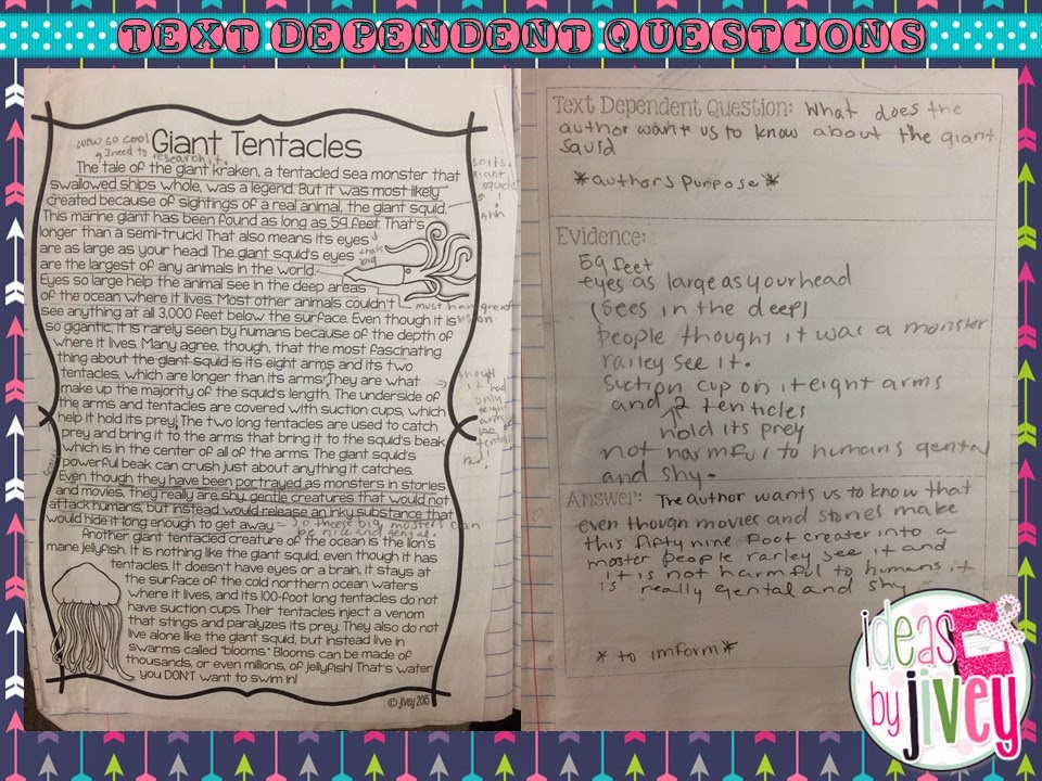 Text dependent questions with Ideas by Jivey.