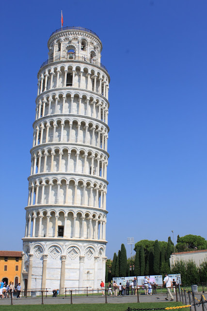 Look at how tilted the Leaning Tower of Pisa in Tuscany, Italy