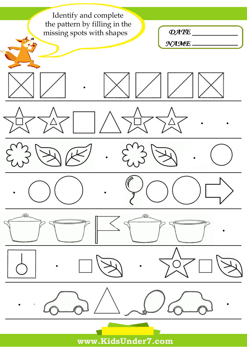 worksheet Patterns Worksheets kids under 7 pattern recognition worksheets worksheets