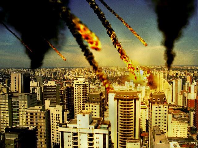 meteorites destroying city
