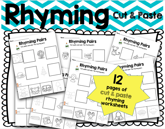 Keeping My Kiddo Busy Rhyming Cut Paste Plus a FREEBIE – Rhyming Worksheets for Kindergarten Cut and Paste