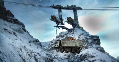 fotos de camiones volando alpes suizos teleferico 2