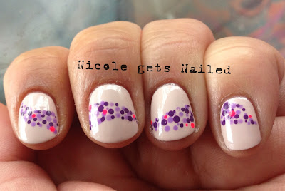Purple with Neon Pink Dotticure Polka Dots Nails